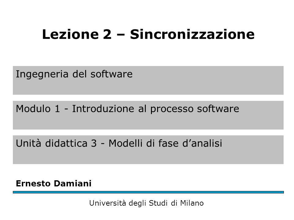 Ingegneria del software Modulo 1 - Introduzione al processo software Unità didattica 3 - Modelli di fase d'analisi Ernesto Damiani Università degli Studi di Milano Lezione 2 – Sincronizzazione