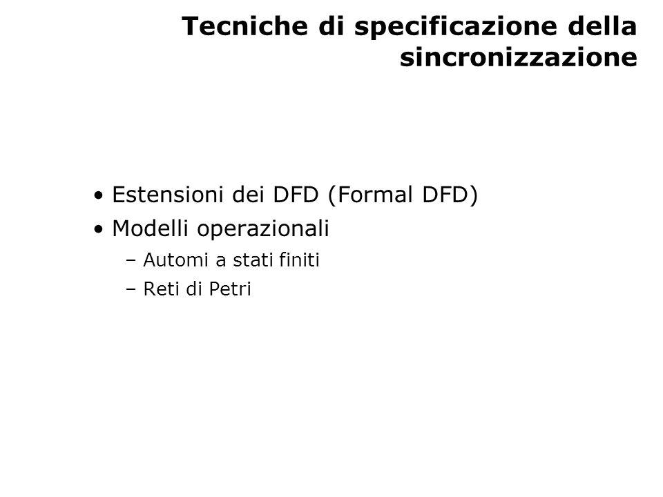 Tecniche di specificazione della sincronizzazione Estensioni dei DFD (Formal DFD) Modelli operazionali – Automi a stati finiti – Reti di Petri