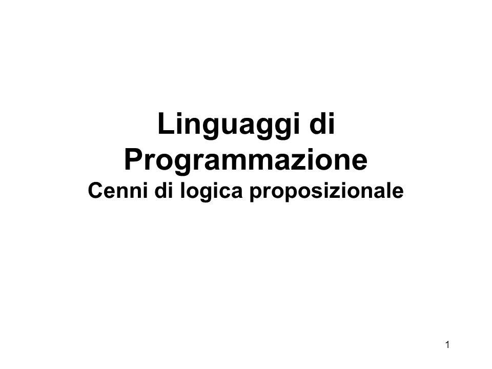 1 Linguaggi di Programmazione Cenni di logica proposizionale