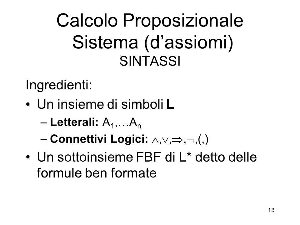 13 Calcolo Proposizionale Sistema (d'assiomi) SINTASSI Ingredienti: Un insieme di simboli L –Letterali: A 1,…A n –Connettivi Logici: , , , ,(,) Un