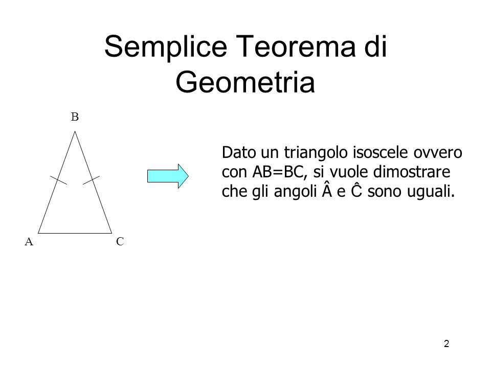 2 Semplice Teorema di Geometria AC B Dato un triangolo isoscele ovvero con AB=BC, si vuole dimostrare che gli angoli e Ĉ sono uguali.