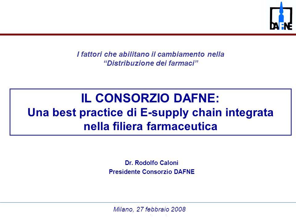 """Dr. Rodolfo Caloni """"Distribuzione dei farmaci"""", Milano, 27 febbraio 2008 Dr. Rodolfo Caloni Presidente Consorzio DAFNE Milano, 27 febbraio 2008 IL CON"""