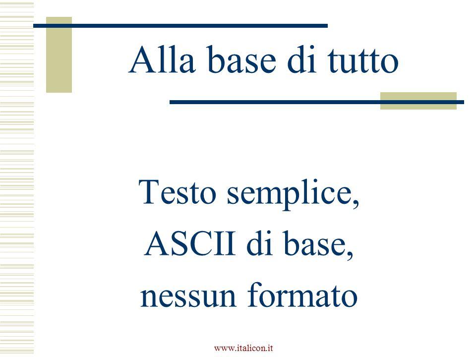 www.italicon.it Alla base di tutto Testo semplice, ASCII di base, nessun formato