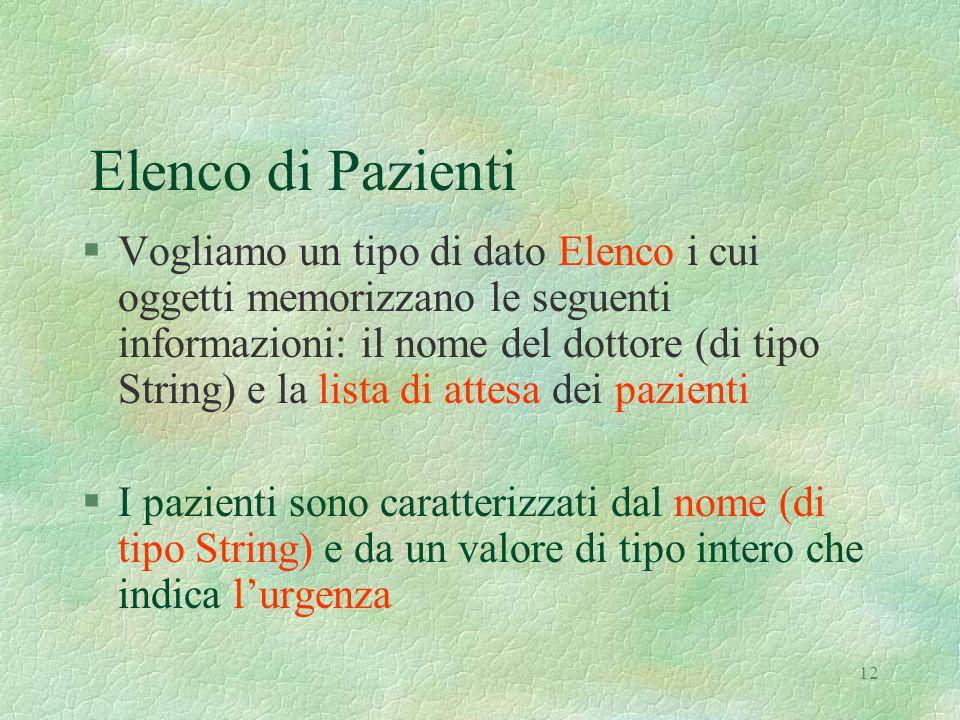 12 Elenco di Pazienti §Vogliamo un tipo di dato Elenco i cui oggetti memorizzano le seguenti informazioni: il nome del dottore (di tipo String) e la l
