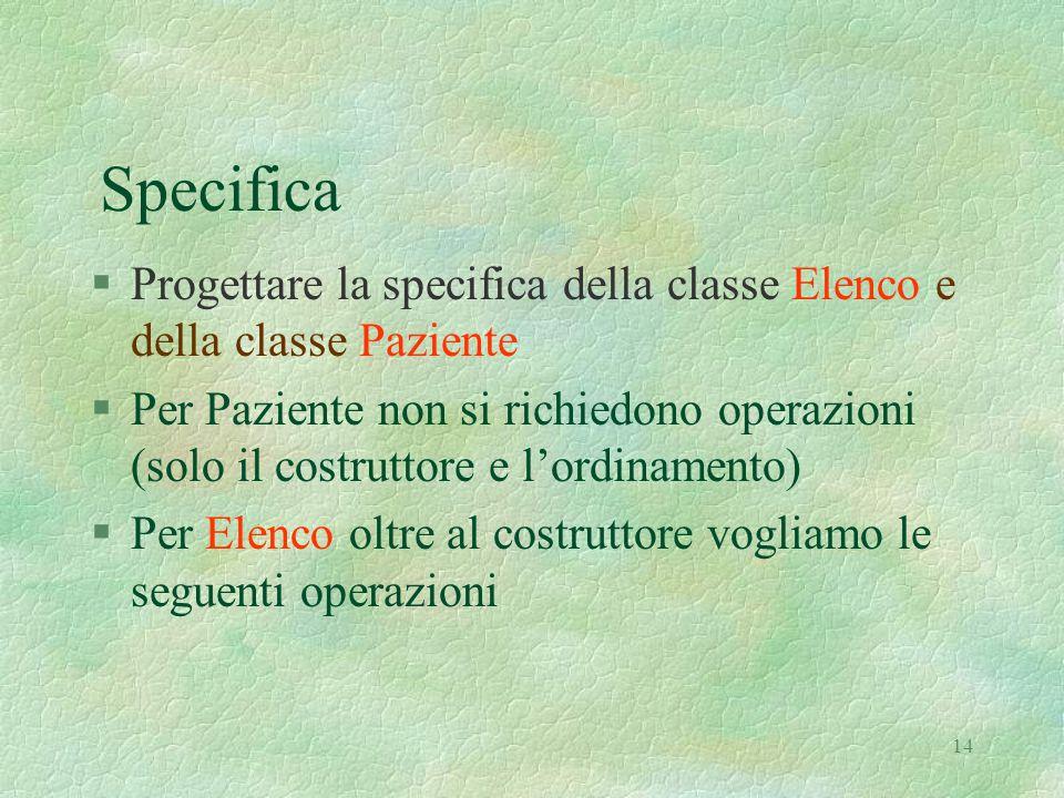 14 Specifica §Progettare la specifica della classe Elenco e della classe Paziente §Per Paziente non si richiedono operazioni (solo il costruttore e l'