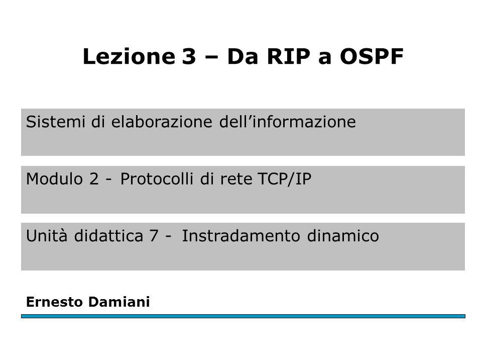 Sistemi di elaborazione dell'informazione Modulo 2 -Protocolli di rete TCP/IP Unità didattica 7 -Instradamento dinamico Ernesto Damiani Lezione 3 – Da RIP a OSPF