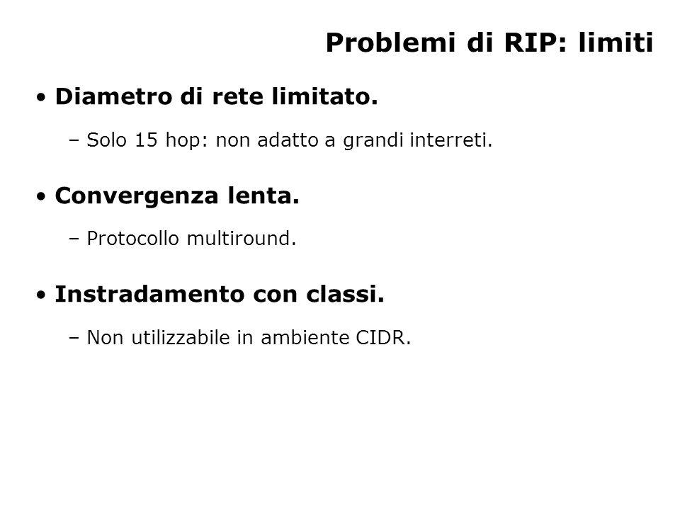 Problemi di RIP: limiti Diametro di rete limitato.