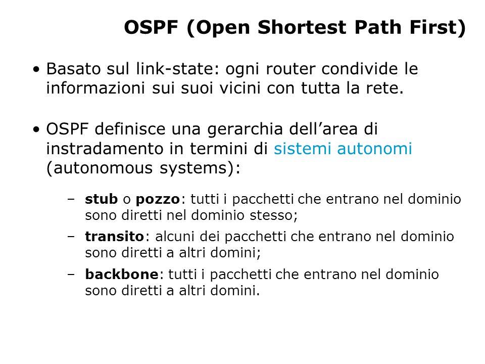 OSPF (Open Shortest Path First) Basato sul link-state: ogni router condivide le informazioni sui suoi vicini con tutta la rete.