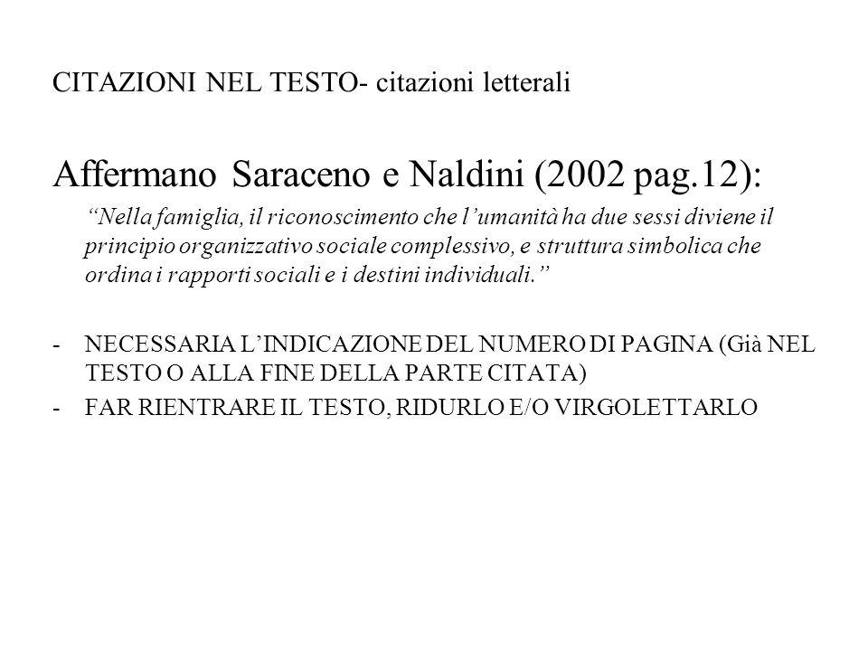 """CITAZIONI NEL TESTO- citazioni letterali Affermano Saraceno e Naldini (2002 pag.12): """"Nella famiglia, il riconoscimento che l'umanità ha due sessi div"""