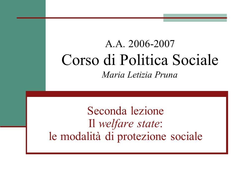 A.A. 2006-2007 Corso di Politica Sociale Maria Letizia Pruna Seconda lezione Il welfare state: le modalità di protezione sociale