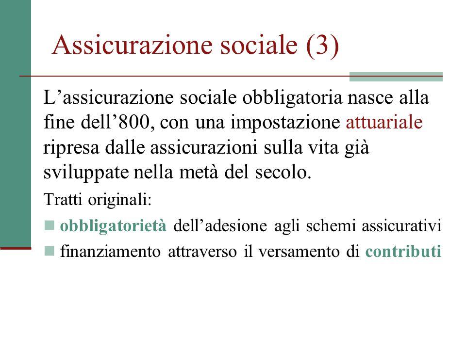 Assicurazione sociale (3) L'assicurazione sociale obbligatoria nasce alla fine dell'800, con una impostazione attuariale ripresa dalle assicurazioni s