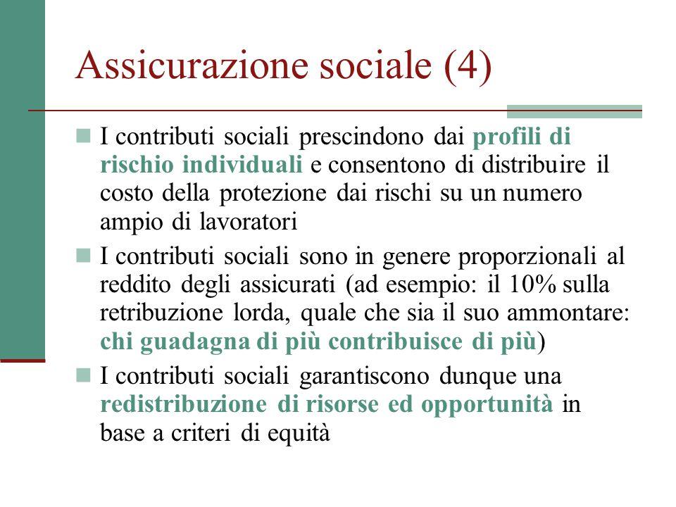 Assicurazione sociale (4) I contributi sociali prescindono dai profili di rischio individuali e consentono di distribuire il costo della protezione da