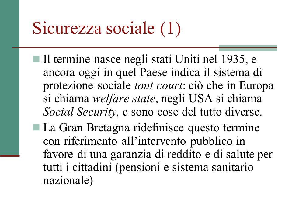 Sicurezza sociale (1) Il termine nasce negli stati Uniti nel 1935, e ancora oggi in quel Paese indica il sistema di protezione sociale tout court: ciò