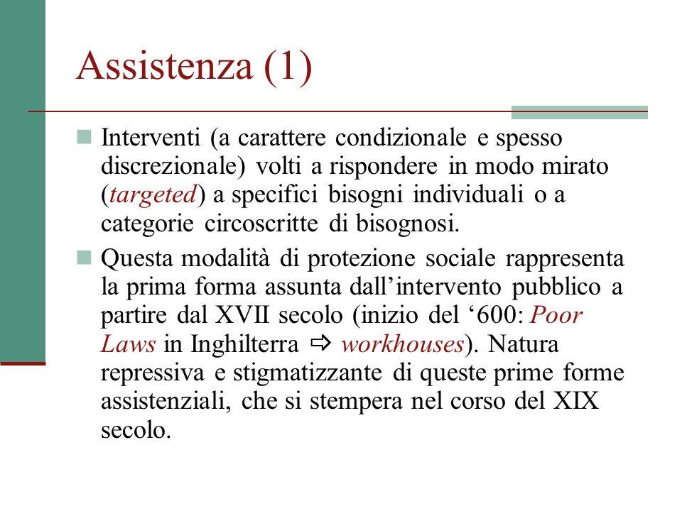 Assistenza (1) Interventi (a carattere condizionale e spesso discrezionale) volti a rispondere in modo mirato (targeted) a specifici bisogni individua