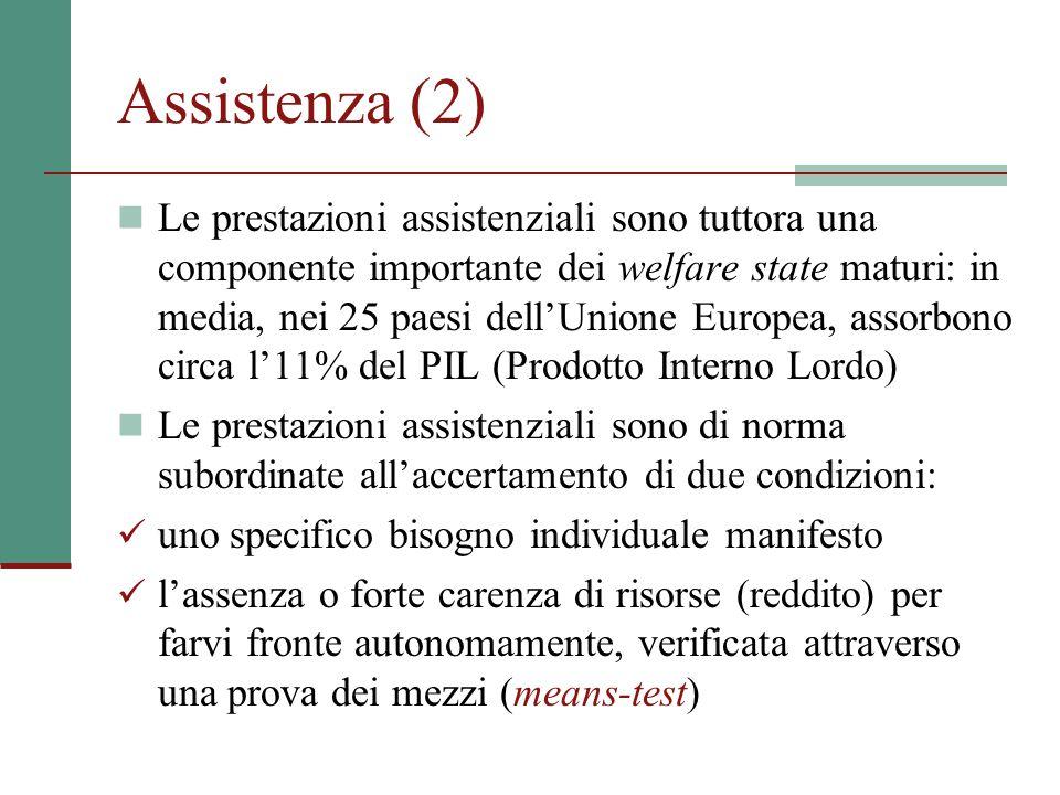Assistenza (2) Le prestazioni assistenziali sono tuttora una componente importante dei welfare state maturi: in media, nei 25 paesi dell'Unione Europe