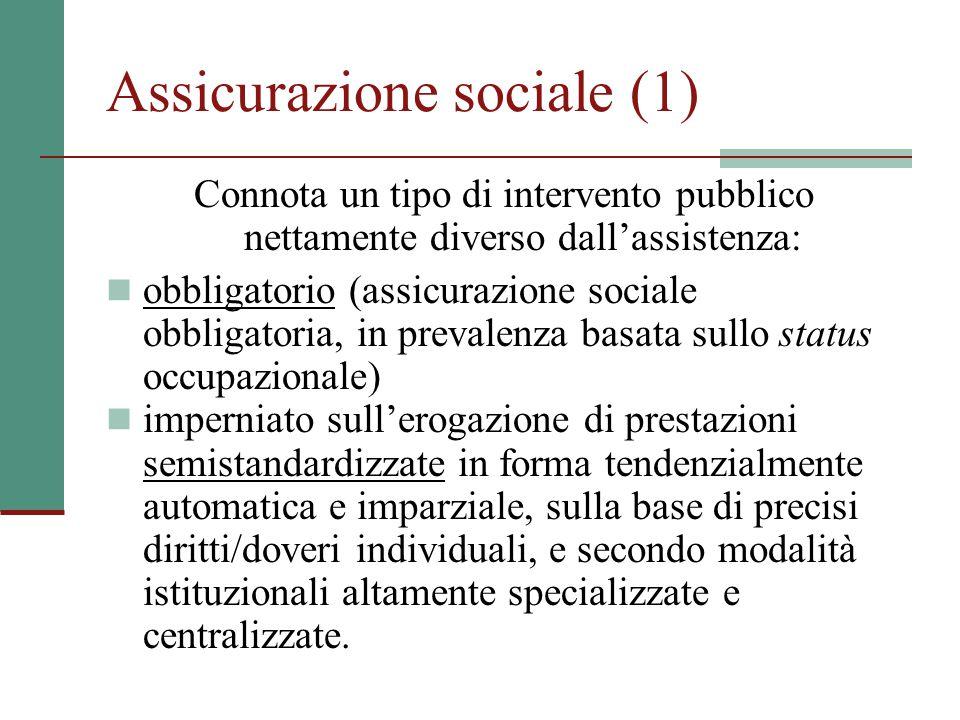 Assicurazione sociale (1) Connota un tipo di intervento pubblico nettamente diverso dall'assistenza: obbligatorio (assicurazione sociale obbligatoria,
