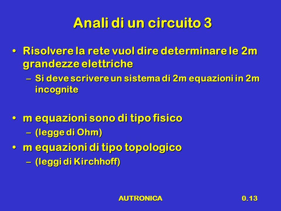 AUTRONICA0.13 Anali di un circuito 3 Risolvere la rete vuol dire determinare le 2m grandezze elettricheRisolvere la rete vuol dire determinare le 2m g