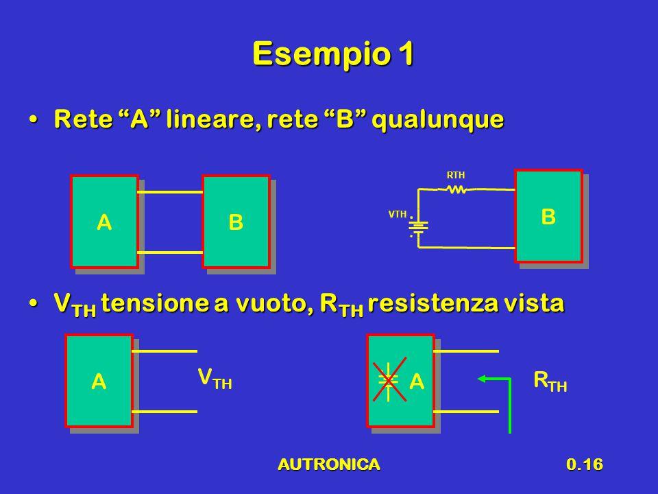 """AUTRONICA0.16 Esempio 1 Rete """"A"""" lineare, rete """"B"""" qualunqueRete """"A"""" lineare, rete """"B"""" qualunque V TH tensione a vuoto, R TH resistenza vistaV TH tens"""