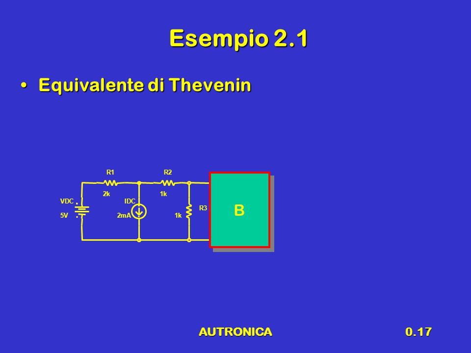 AUTRONICA0.17 Esempio 2.1 Equivalente di TheveninEquivalente di Thevenin VDC 5V IDC 2mA R1 2k R2 1k R3 1k B B