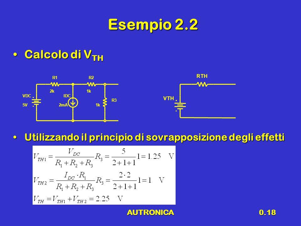 AUTRONICA0.18 Esempio 2.2 Calcolo di V THCalcolo di V TH Utilizzando il principio di sovrapposizione degli effettiUtilizzando il principio di sovrappo