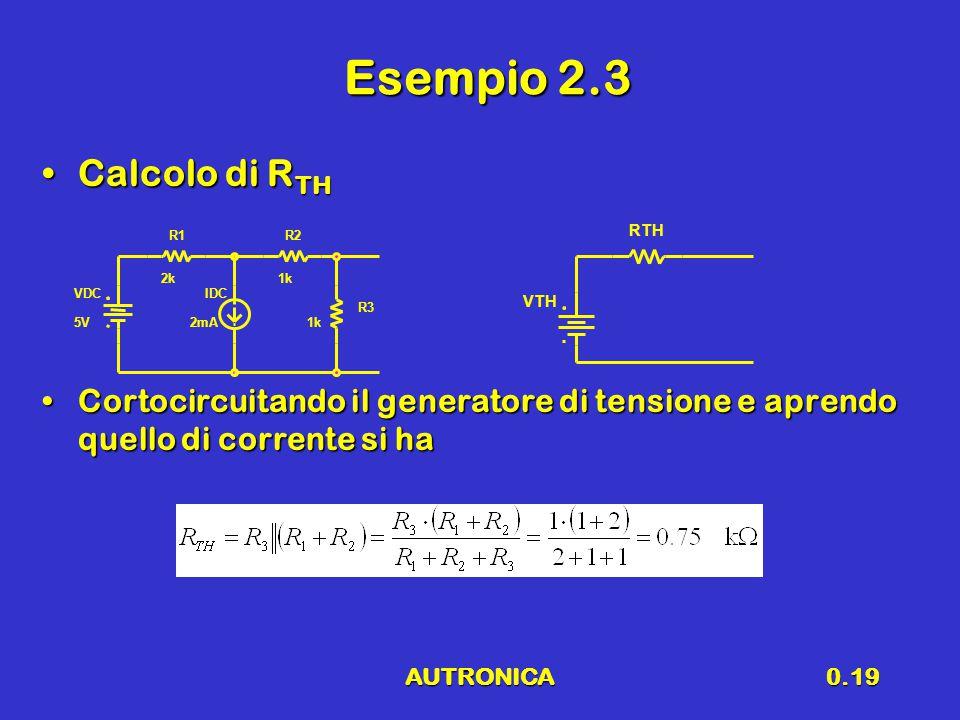 AUTRONICA0.19 Esempio 2.3 Calcolo di R THCalcolo di R TH Cortocircuitando il generatore di tensione e aprendo quello di corrente si haCortocircuitando