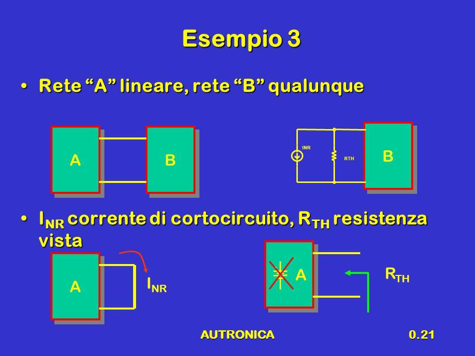 """AUTRONICA0.21 Esempio 3 Rete """"A"""" lineare, rete """"B"""" qualunqueRete """"A"""" lineare, rete """"B"""" qualunque I NR corrente di cortocircuito, R TH resistenza vista"""
