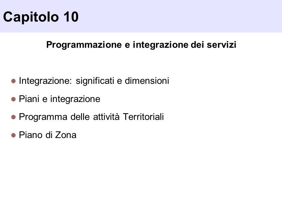 Capitolo 10 Programmazione e integrazione dei servizi Integrazione: significati e dimensioni Piani e integrazione Programma delle attività Territorial