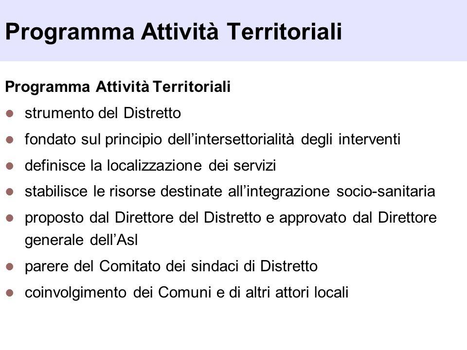 Programma Attività Territoriali strumento del Distretto fondato sul principio dell'intersettorialità degli interventi definisce la localizzazione dei