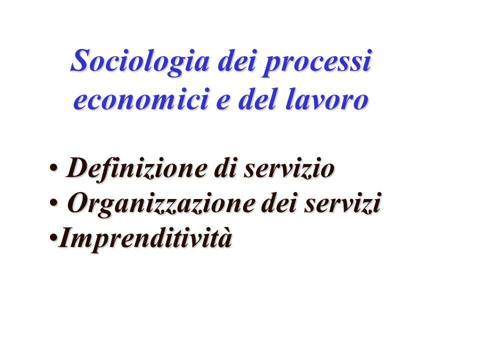 Sociologia dei processi economici e del lavoro Definizione di servizio Definizione di servizio Organizzazione dei servizi Organizzazione dei servizi ImprenditivitàImprenditività