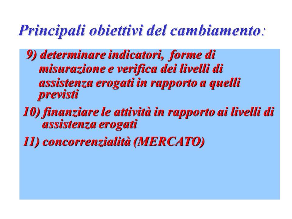 Principali obiettivi del cambiamento: 1) efficacia delle prestazioni 2) razionalità economica 3) determinare un riequilibrio del territorio 4) creare