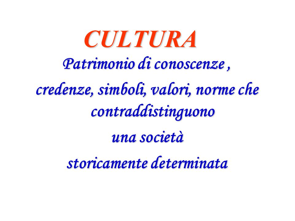 CULTURA Patrimonio di conoscenze, credenze, simboli, valori, norme che contraddistinguono una società storicamente determinata