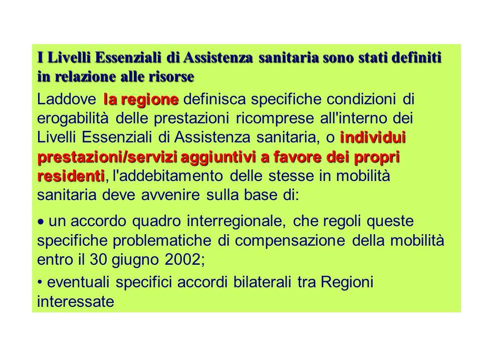 Livelli Essenziali di di Assistenza Accordo tra Governo, Regioni e le Province Autonome di Trento e Bolzano sui Livelli Essenziali di Assistenza Sanit
