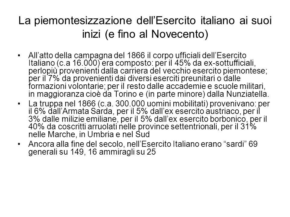 La piemontesizzazione dell'Esercito italiano ai suoi inizi (e fino al Novecento) All'atto della campagna del 1866 il corpo ufficiali dell'Esercito Ita