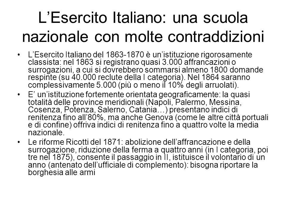 L'Esercito Italiano: una scuola nazionale con molte contraddizioni L'Esercito Italiano del 1863-1870 è un'istituzione rigorosamente classista: nel 186