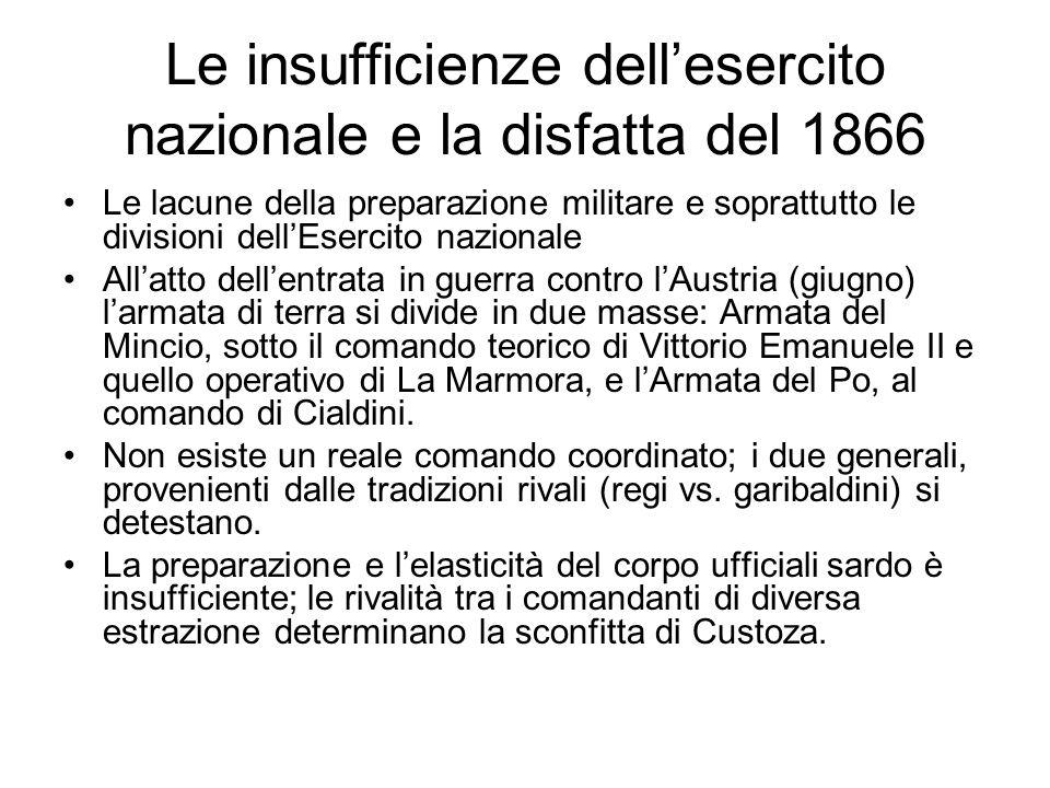 Le insufficienze dell'esercito nazionale e la disfatta del 1866 Le lacune della preparazione militare e soprattutto le divisioni dell'Esercito naziona