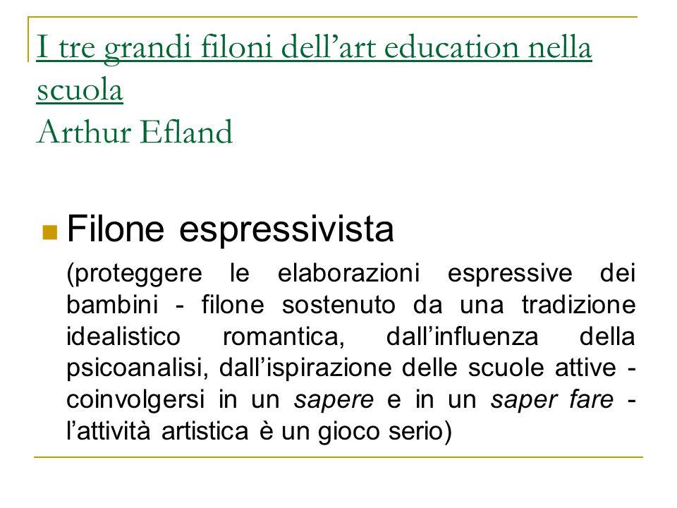 I tre grandi filoni dell'art education nella scuola Arthur Efland Filone espressivista (proteggere le elaborazioni espressive dei bambini - filone sos
