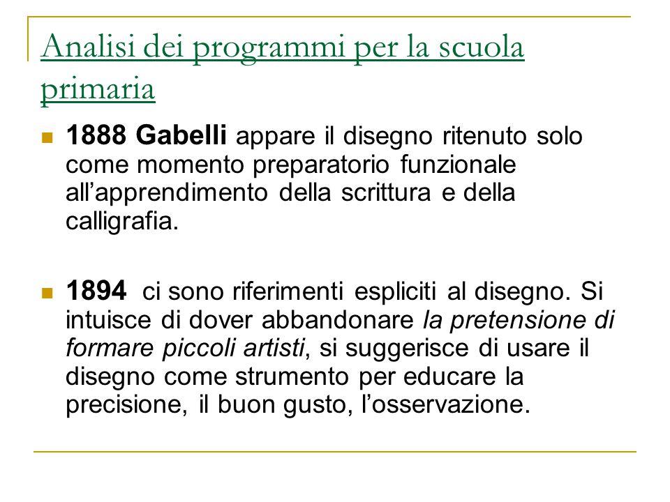 Analisi dei programmi per la scuola primaria 1888 Gabelli appare il disegno ritenuto solo come momento preparatorio funzionale all'apprendimento della