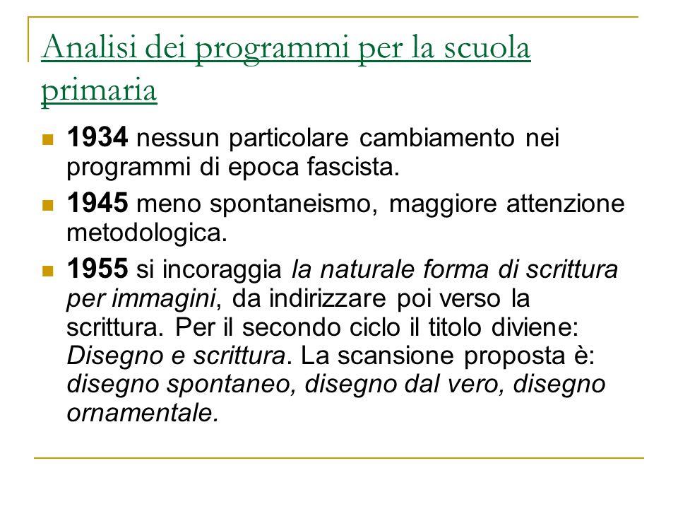 Analisi dei programmi per la scuola primaria 1934 nessun particolare cambiamento nei programmi di epoca fascista. 1945 meno spontaneismo, maggiore att