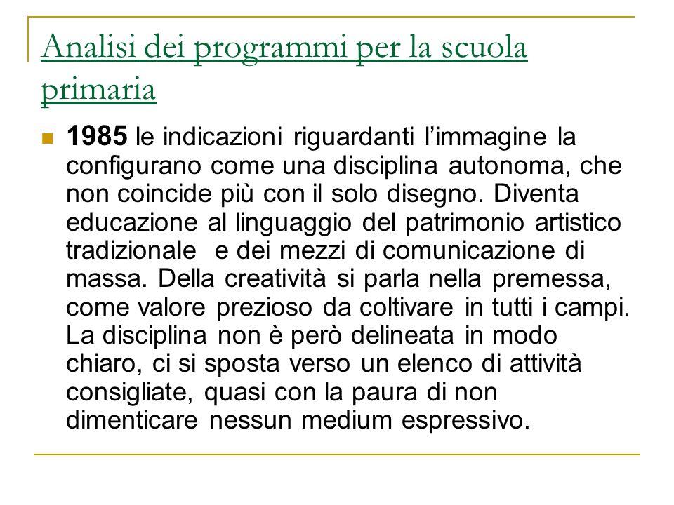 Analisi dei programmi per la scuola primaria 1985 le indicazioni riguardanti l'immagine la configurano come una disciplina autonoma, che non coincide