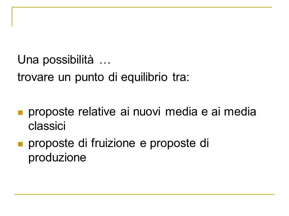 Una possibilità … trovare un punto di equilibrio tra: proposte relative ai nuovi media e ai media classici proposte di fruizione e proposte di produzi