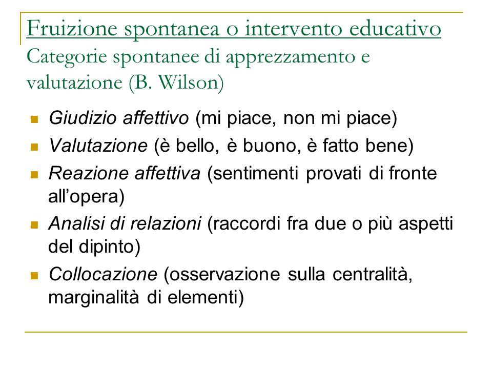 Fruizione spontanea o intervento educativo Categorie spontanee di apprezzamento e valutazione (B. Wilson) Giudizio affettivo (mi piace, non mi piace)