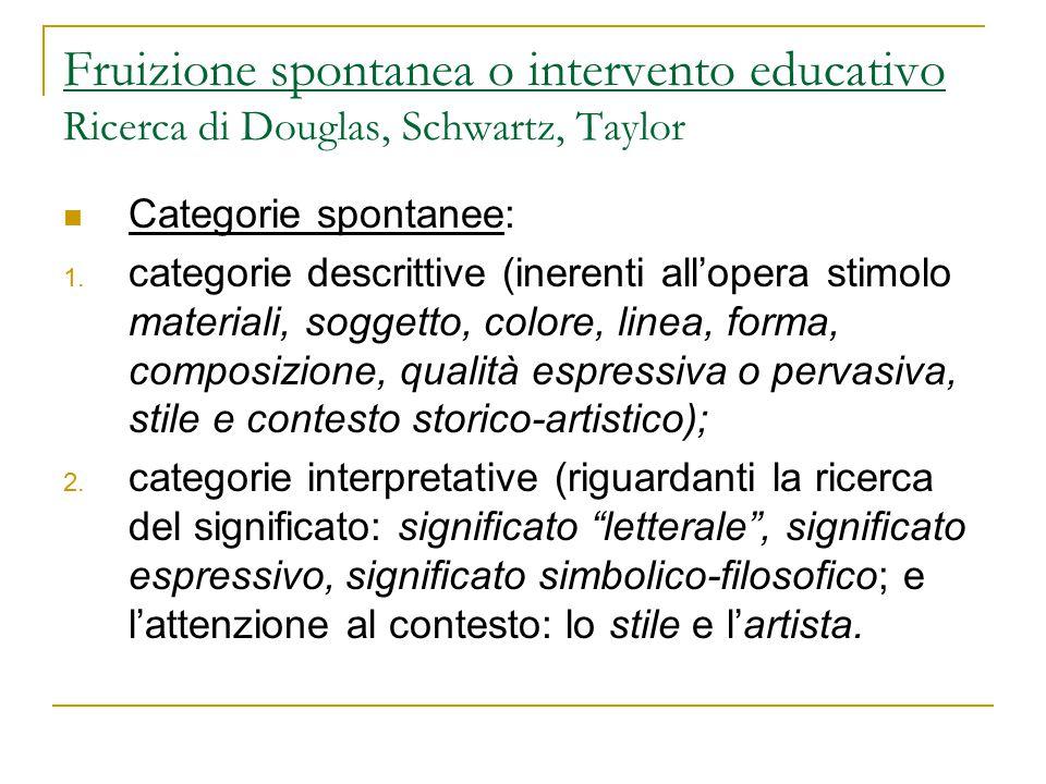 Fruizione spontanea o intervento educativo Ricerca di Douglas, Schwartz, Taylor Categorie spontanee: 1. categorie descrittive (inerenti all'opera stim