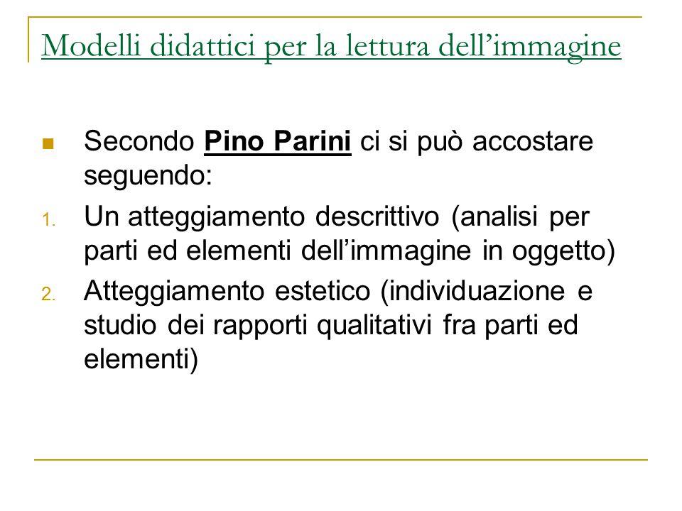 Secondo Pino Parini ci si può accostare seguendo: 1. Un atteggiamento descrittivo (analisi per parti ed elementi dell'immagine in oggetto) 2. Atteggia