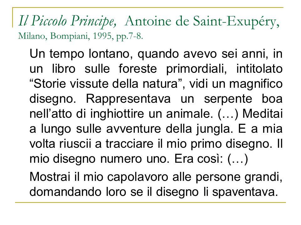 Il Piccolo Principe, Antoine de Saint-Exupéry, Milano, Bompiani, 1995, pp.7-8. Un tempo lontano, quando avevo sei anni, in un libro sulle foreste prim
