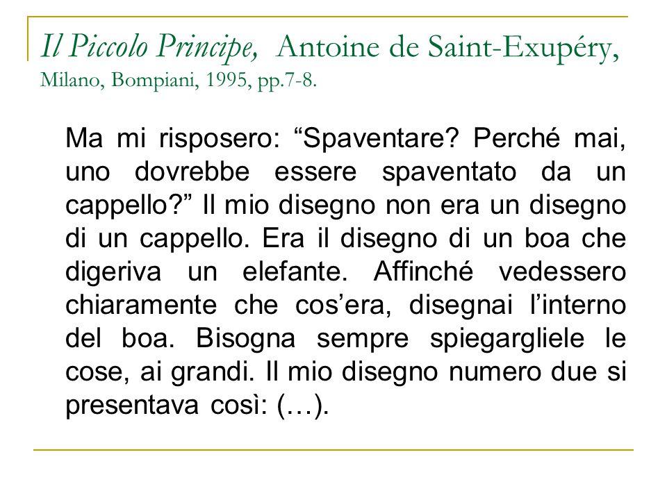"""Il Piccolo Principe, Antoine de Saint-Exupéry, Milano, Bompiani, 1995, pp.7-8. Ma mi risposero: """"Spaventare? Perché mai, uno dovrebbe essere spaventat"""