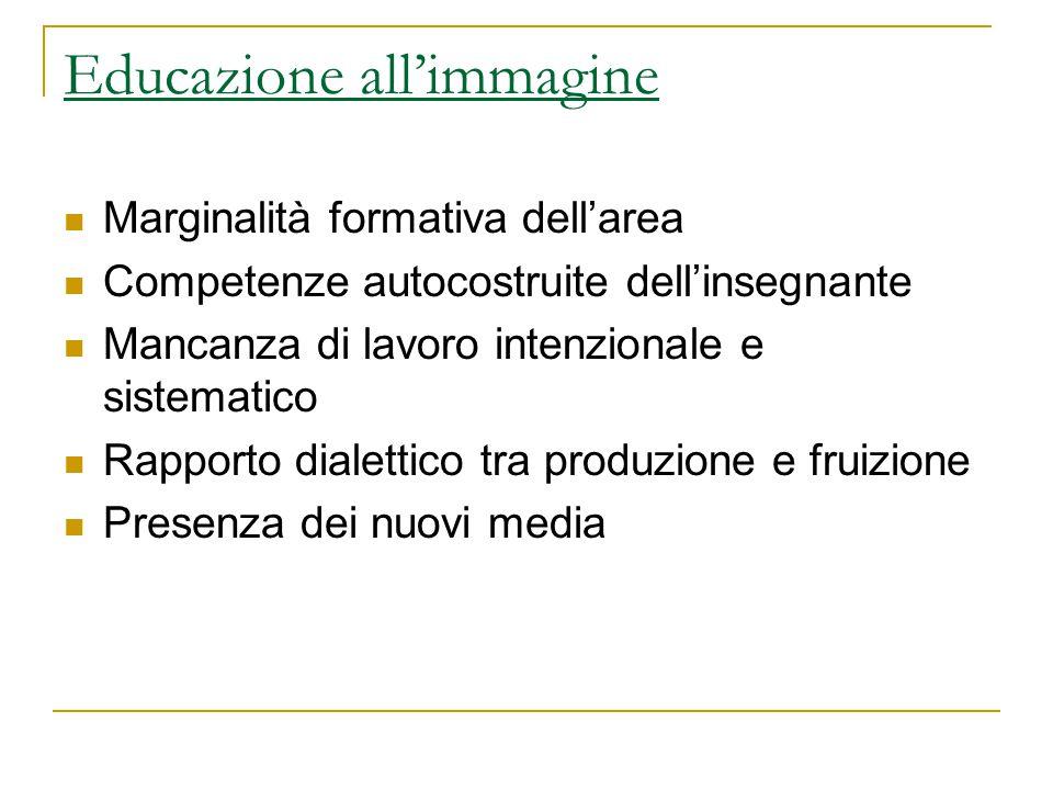 Educazione all'immagine Marginalità formativa dell'area Competenze autocostruite dell'insegnante Mancanza di lavoro intenzionale e sistematico Rapport