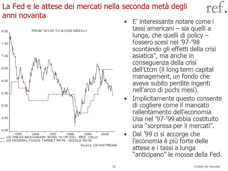 Fedele De Novellis 10 La Fed e le attese dei mercati nella seconda metà degli anni novanta E' interessante notare come i tassi americani – sia quelli