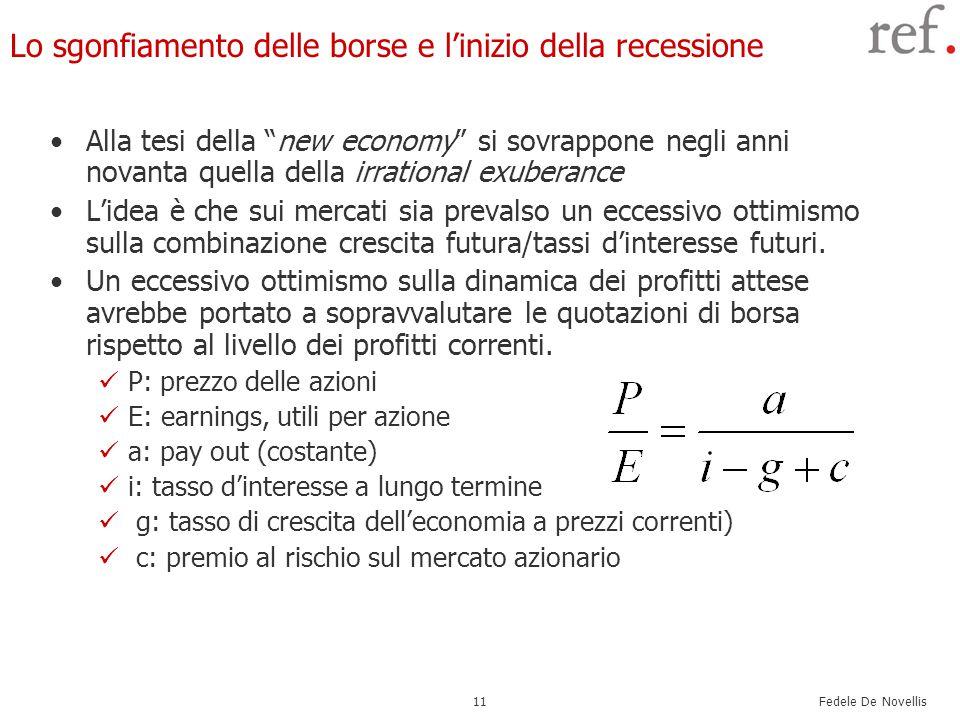 Fedele De Novellis 11 Lo sgonfiamento delle borse e l'inizio della recessione Alla tesi della new economy si sovrappone negli anni novanta quella della irrational exuberance L'idea è che sui mercati sia prevalso un eccessivo ottimismo sulla combinazione crescita futura/tassi d'interesse futuri.