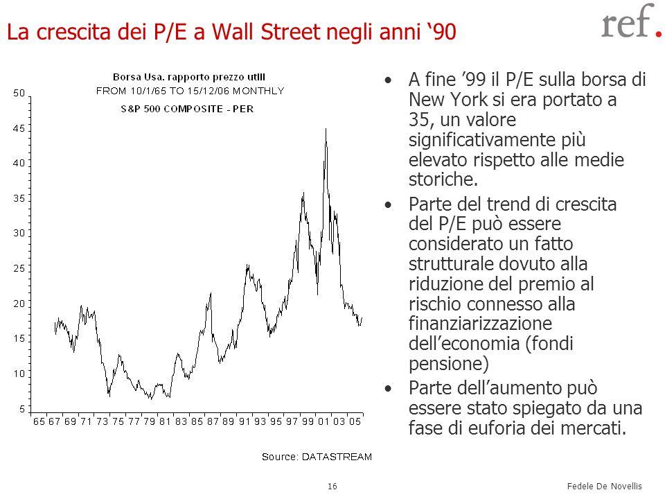 Fedele De Novellis 16 La crescita dei P/E a Wall Street negli anni '90 A fine '99 il P/E sulla borsa di New York si era portato a 35, un valore significativamente più elevato rispetto alle medie storiche.