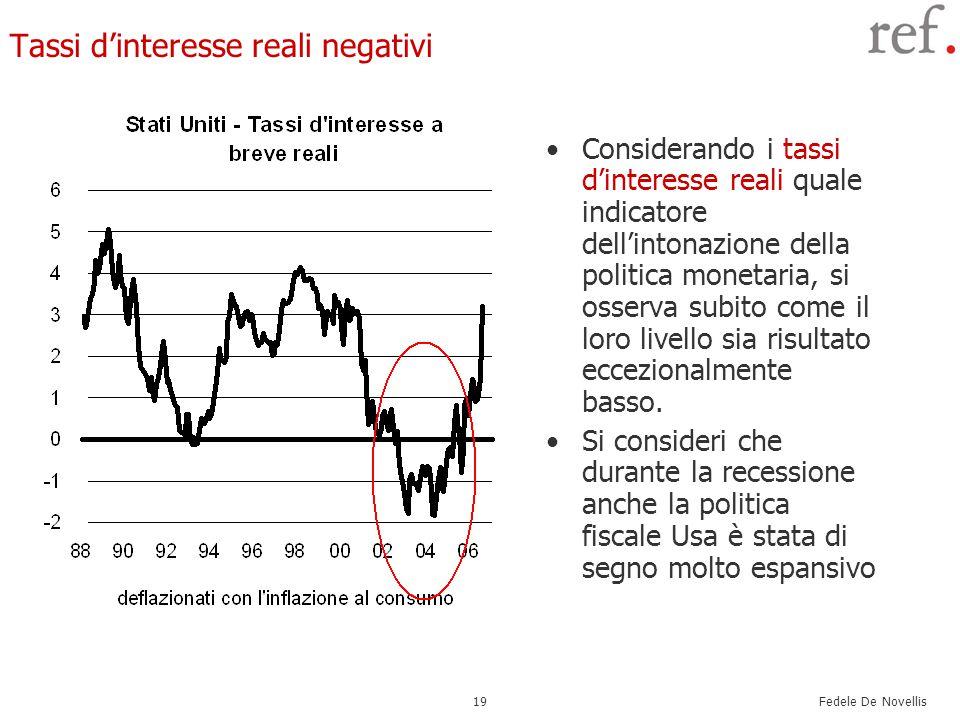 Fedele De Novellis 19 Tassi d'interesse reali negativi Considerando i tassi d'interesse reali quale indicatore dell'intonazione della politica monetaria, si osserva subito come il loro livello sia risultato eccezionalmente basso.